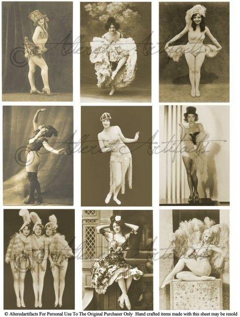 Instant Download Burlesque Show Girls Dancers Vintage Postcard Clip Art Digital Collage Sheet