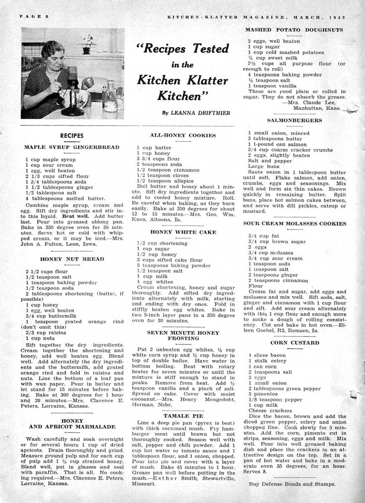 Kitchen Klatter Magazine, March 1942 - Maple Syrup Gingerbread, Honey Nut Bread, Honey and Apricot Marmalade, All Honey Cookies, Honey White Cake, Seven Minute Honey Frosting, Mashed Potato Doughnuts, Salmon Burgers, Sour Cream Molasses Cookies, Corn Custard