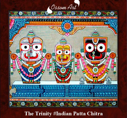 The traditional art form of odisha is known as patachitra. This is the painting style which is made on the cloth with natural color.  This ancient art of painting widely used as in the court of king's in puri. The lord Jagannath with his brother and sister is a popular painting.  God Jagannath is the lord of Baisnab dharma. Puri was the heart of odisha many years back, so the painter paints this type of painting on the demand of devotees.