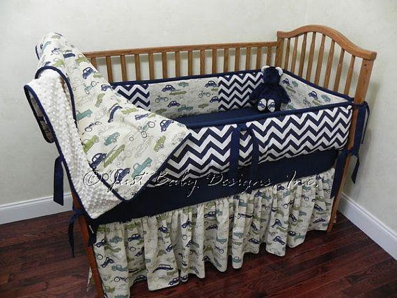 Hey, I found this really awesome Etsy listing at https://www.etsy.com/listing/160483696/custom-baby-bedding-set-navy-chevron-w
