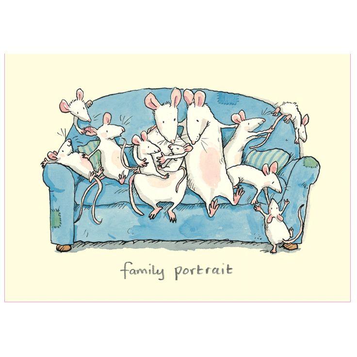 M245 FAMILY PORTRAIT - Two Bad Mice card by Anita Jeram www.twobadmice.com