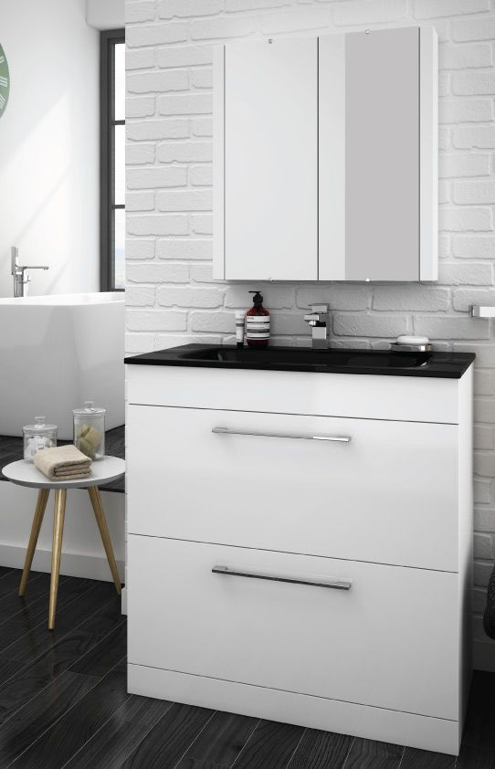 eclipse black modern 2 drawer vanity unit 800mm wide 1 tap hole bathroom