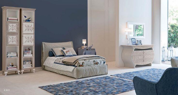 Детская 6 BOY, производитель HALLEY, цвета и декор: чехол декоративный, валик, подушки, водные краски и лаки, резьба и др., современный стиль. Италия