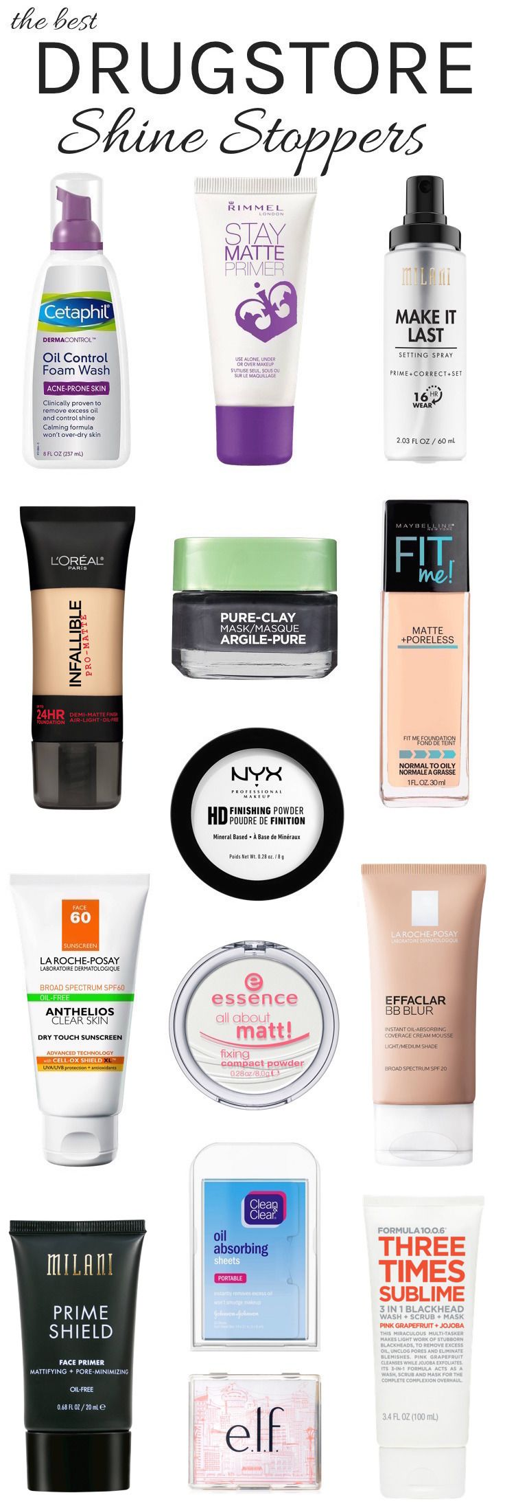 Oily skin? From oil-control primer and foundation to setting powder and spray, here are the best drugstore oil control products that can help keep unwanted shine in check for hours. These must-have mattifiers don't just eliminate excess shine—they prevent it from showing up in the first place!