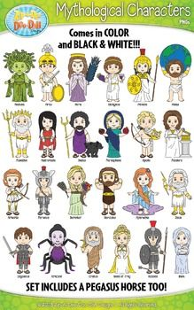 Greek Mythology Characters Clip Art Bundle Pack! You will receive 50 graphics total in this GREEK MYTHOLOGY CHARACTER CLIPART BUNDLE PACK! This set includes 25 characters that come in Color and B/W Outlines! The graphics are high resolution (300 DPI) which means you to enlarge them without causing pixelation.
