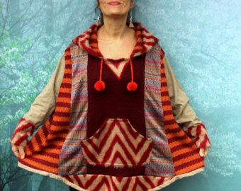 L-XXL Güz renkleri kaput geri dönüşümlü hippi bohem tarzı ile kazak panço patchwork