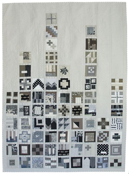 Skyline quilt in gray scale, white and black : City Sampler by Tula Pink