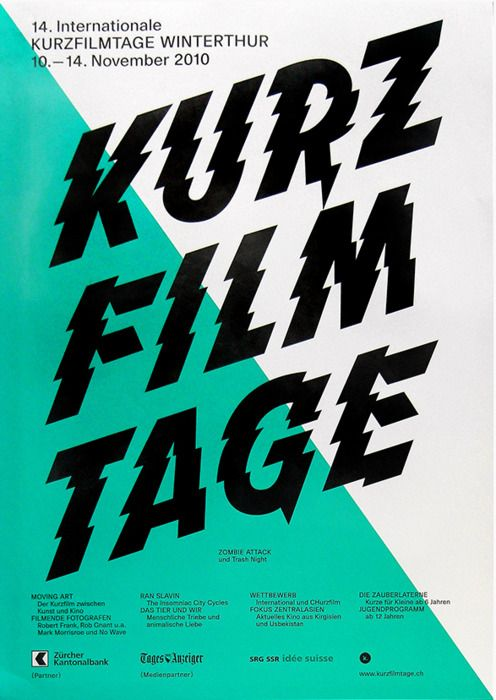 Kurz Film Tage #poster by Philipp Herrmann and Reto Winkelmann for the short film festival in Winterthur, #Switzerland. [2010]