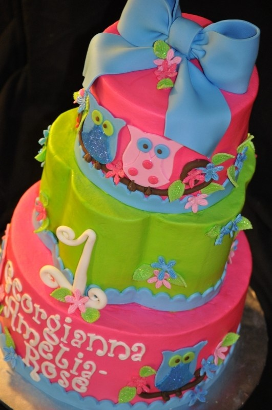 owl cake birthday party only make two tiers add smash cake too