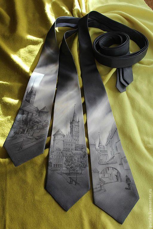 """Галстуки, бабочки ручной работы. Ярмарка Мастеров - ручная работа. Купить галстуки """"Кенигсберг"""". Handmade. Рисунок, старый город"""