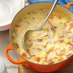 Cheesy Ham Chowder - comforting and filling chowder brimming with ham, potatoes, carrots, bacon, onion, corn and cheddar cheese. (You could also add just a little spicy sausage if you want it to have an extra kick!)