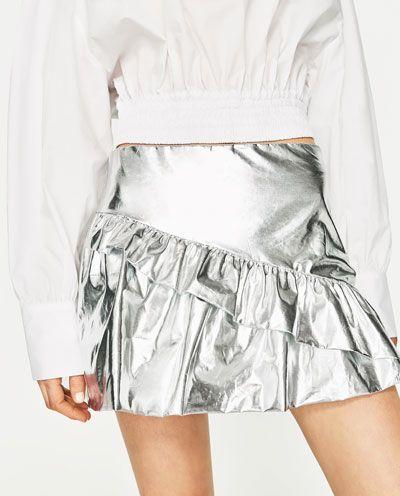 Image 2 of FRILLED SHINY MINI SKIRT from Zara