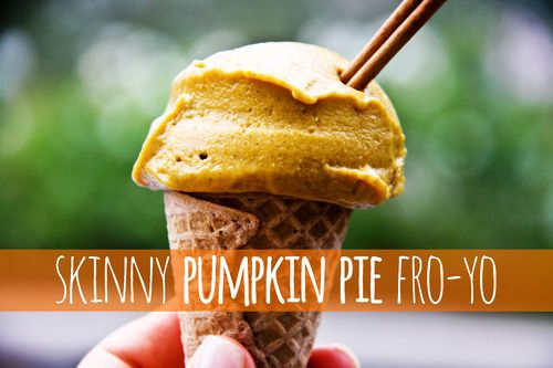All you need is: 1 cup Non-Fat Plain Greek Yogurt 1 cup Organic Pumpkin Puree 5 teaspoons Stevia Splash of Vanilla Extract 1 tablespoon Pumpkin Spice Blend it all together and place in the freezer. Remove every 1/2 hour and mix until it's at the desired consistency!