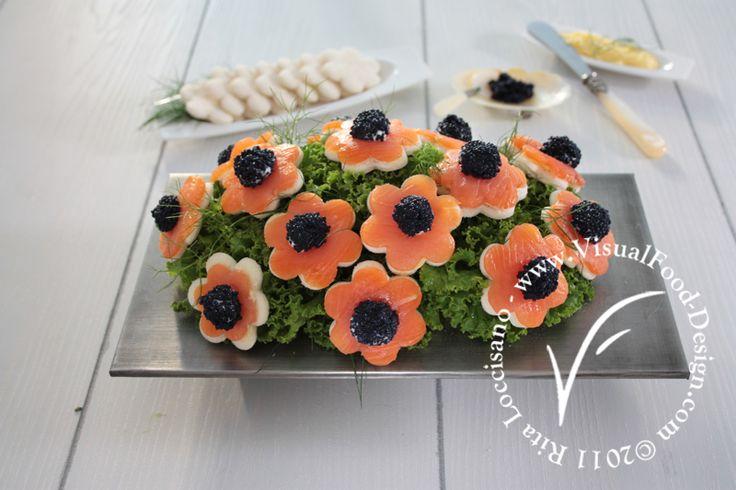 ispirazioni visual food: bouquet di canapè di salmone