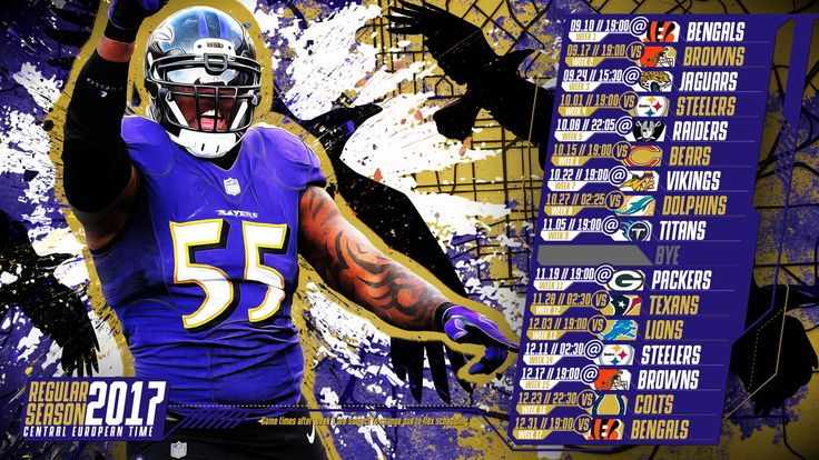 Schedule wallpaper for the Baltimore Ravens Regular Season, 2017 Central European Time. Made by #tgersdiy