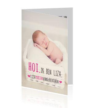 Erg modern meisjes geboortekaartje met foto