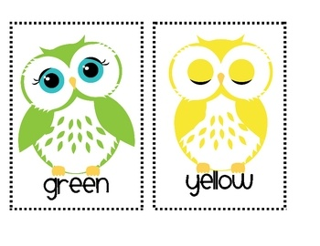 Owl color posters can be printed and laminated to use in literacy centers or hung around the room to use with write the room activities. (free!!)