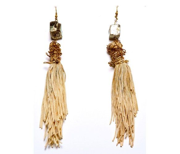 Dip Dyed Pyrite Earrings : Unique Earrings