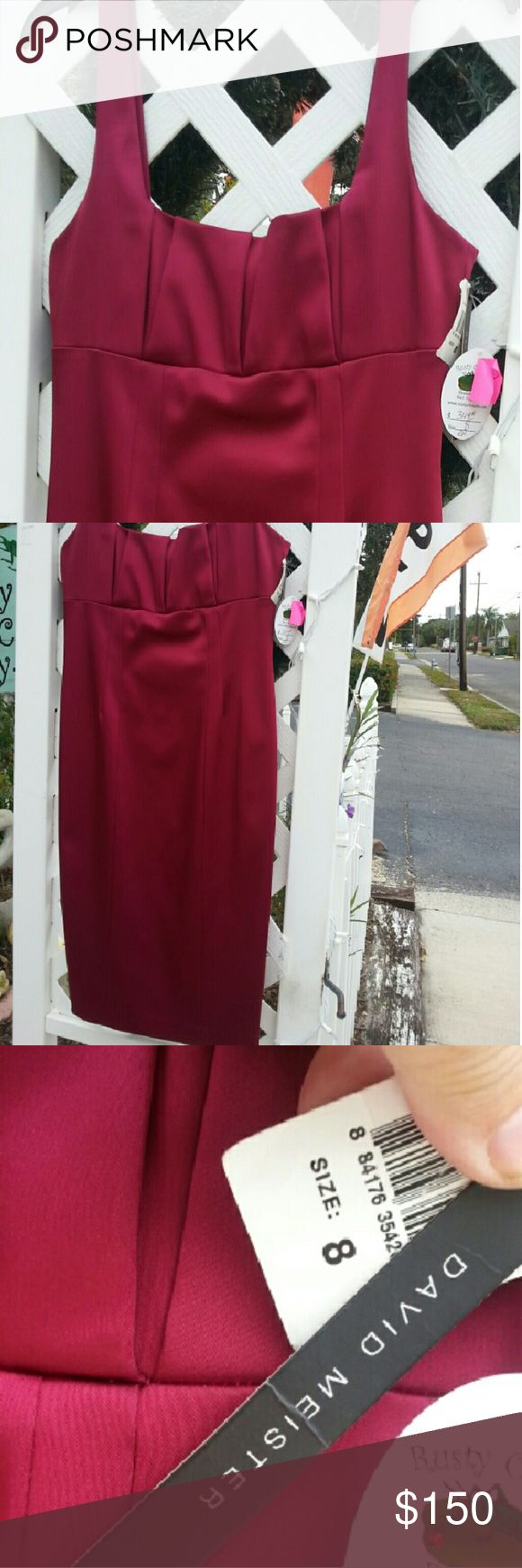 David Meister Cocktail Dress NWT  Form fitting sateen beautiful raspberry dress, perfect for your valentine. David Meister Dresses Midi
