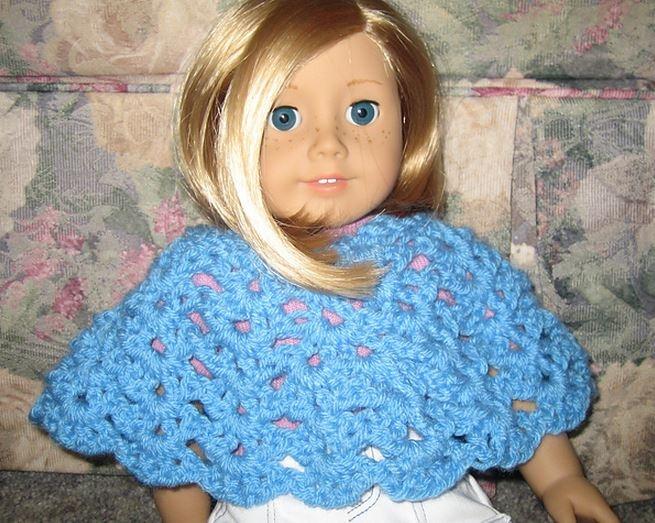 American Girl Doll Lacy Shells Poncho Crochet Pattern