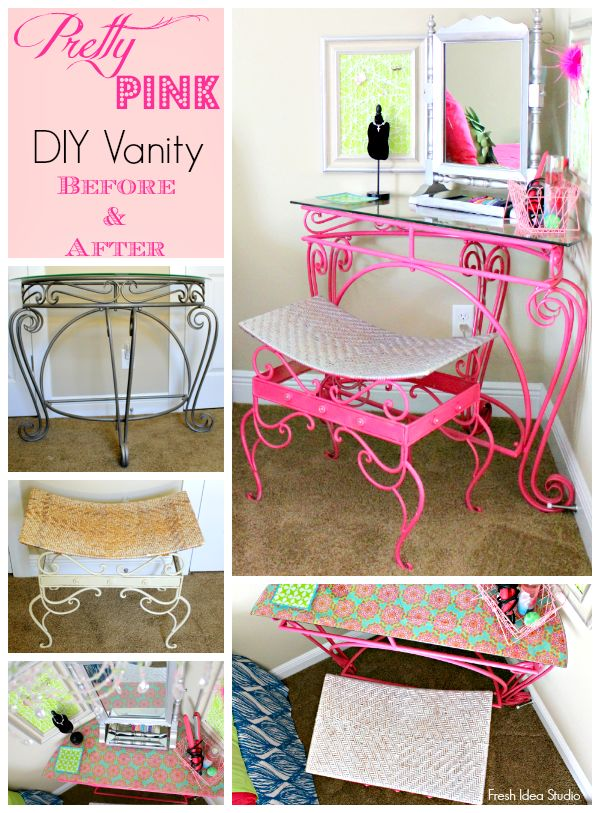 Upcycled old furniture into a Pretty Pink DIY Vanity by Fresh Idea Studio. Get the details and find inspiration for your next DIY!