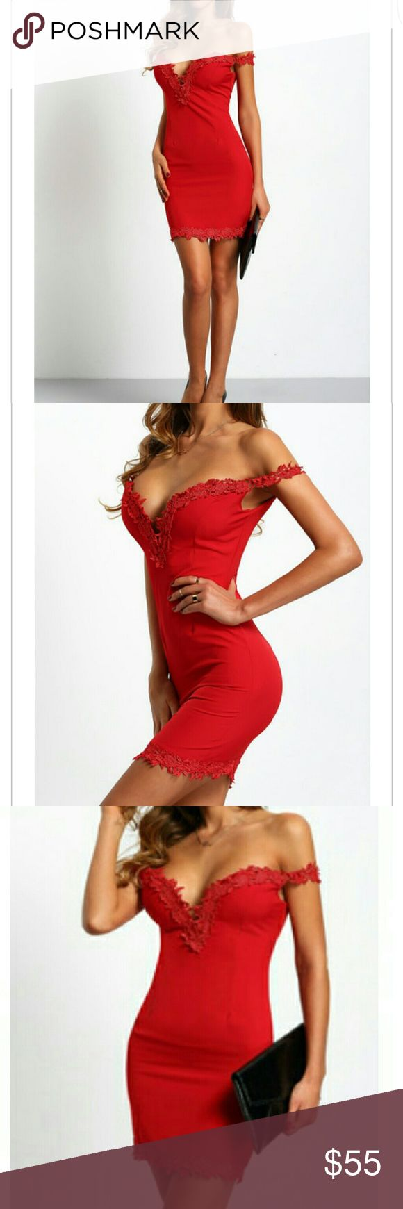 Bodycon sexy dress Red Sweetheart Neck Lace Slim Bodycon off the sholders dress Boutique  Dresses Mini