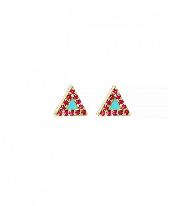 Turquoise and Ruby Inlay Triangle Studs