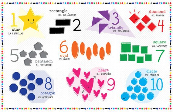 Kids Spanish OR French Shapes and Numbers Placemat by ...