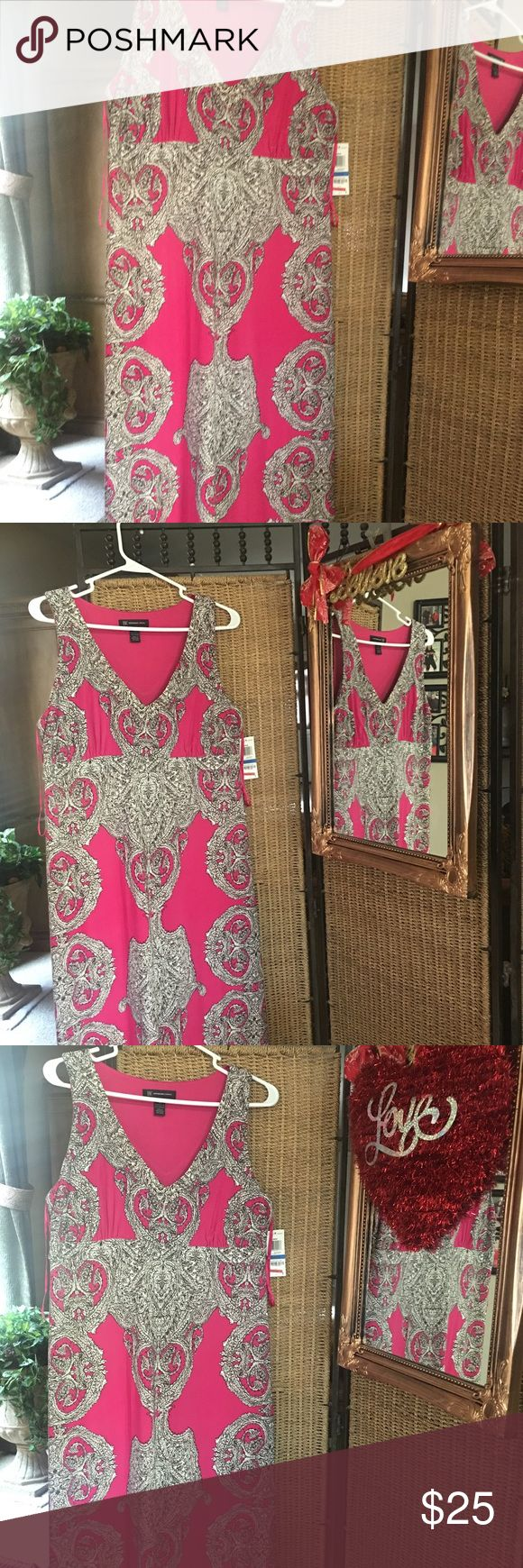 Macy INC Summer Maxi dress Size XL New with Macy INC Summer maxi dress Size XL  Color beautiful soft pink , black, off white Material very stretchy  Polyester and spandex INC International Concepts Dresses Maxi