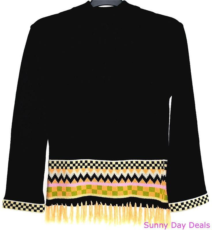 Buffalo David Bitton Juniors Sweater Black Mock Long Sleeves Fringe Pom Pom L #BuffaloDavidBitton #TurtleneckMock #Versatile