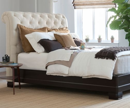 Charles P. Rogers Beds Direct Hampton Bed - Linen - Our modern interpretation of a classic, comfortable favorite in high quality linen fabric. It is available in three configurations traditional bed, platform bed or headboard alone. The tall headboard is hand tufted with buttons, in upholstery grade linen that is easy to care for. Thick solid dark brown mahogany rails