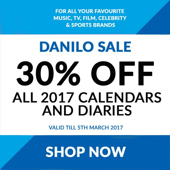 30% OFF All Official 2017 Calendars & Diaries at Danilo.com for Popular TV, Film, Music, Celeb & Sports Brands inc Free UK P&P!