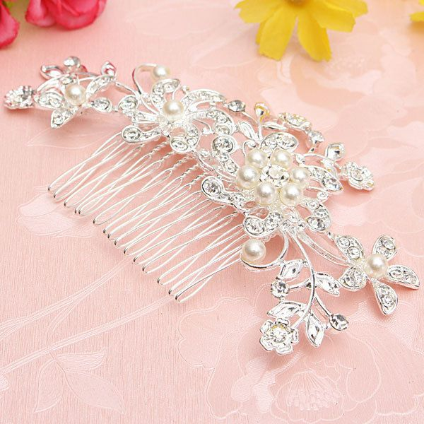 Party Bridal Flower Jewelry Pearls Hair Comb Clip Diamante Crystal Rhinestone UK