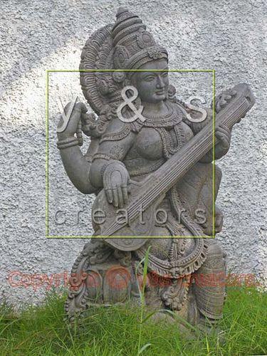 A statue of Goddess Saraswathi near Kovalam beach. Trivandrum, Kerala, India