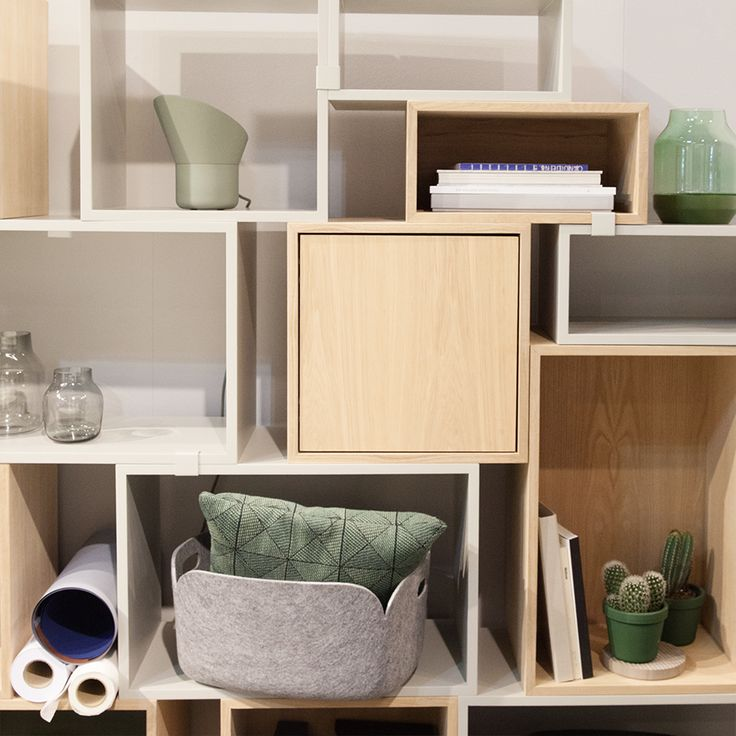 Stacked shelf module with a door by JDS Architects for Muuto