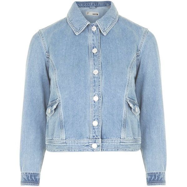 TOPSHOP MOTO '70s Stitch Denim Jacket ($80) ❤ liked on Polyvore featuring outerwear, jackets, tops, topshop, mid stone, blue jackets, blue denim jacket, jean jacket and blue jean jacket
