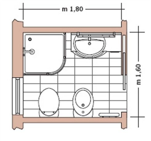 Casa moderna, Roma Italy: Planimetria bagno piccolo