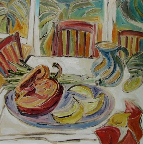 """""""Meditteranean table"""" by ©Kristin Gibson http://www.fineartandfabric.com"""
