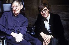 Stephen Hawking and Benedict Cumberbatch, in a promo pic for the movie the BBC is doing based on Hawking's life in 1962. Cumberbatch plays Hawking.