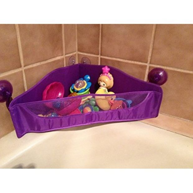 Bula Baby Corner Bath Toy Organizer - 3-sided Design Allows Easy Access to Bathtub Toys - Strong Suction Cups Hold It Firmly in Place - Mesh Design Allows Easy Water Drainage to Prevent Mold - Great Addition to Your Children's Bathroom Accessories