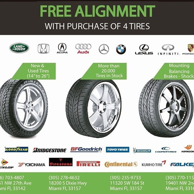 GET FREE ALIGNMENT WITH THE PURCHASE OF FULL SET 🔧🔧 #newtires #tires #alignment #freealignment #miami #tirestore #tireshops #mrgomatires