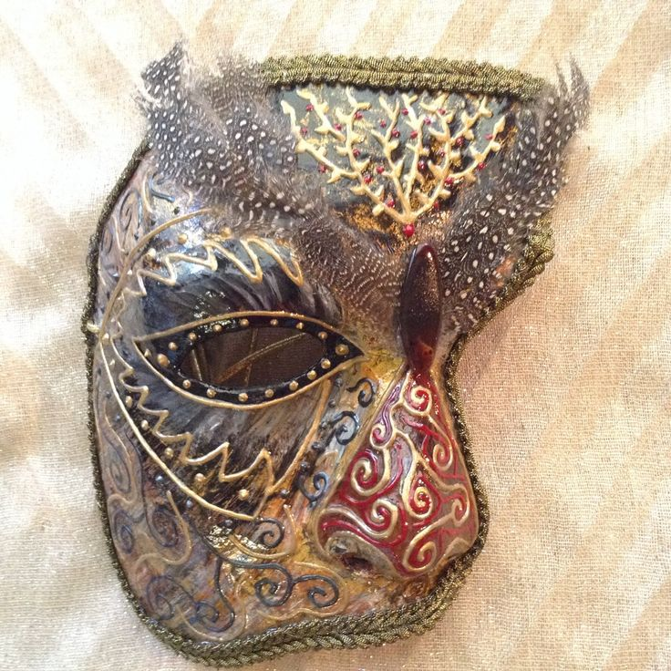 """Venetian costume masquerade ball mask handmade, lightweight  wearable, in golden shades brown  and black, """"Owl male mask"""" by EthnicDrops on Etsy https://www.etsy.com/listing/269197637/venetian-costume-masquerade-ball-mask"""