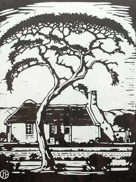 "J.H. Pierneef (SA 1886 - 1957) Photolinocut, ""Thorntree and House Silverton"""