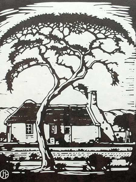 "J.H. Pierneef (SA 1886 - 1957) Photolinocut, ""Thorntree and House Silverton"""
