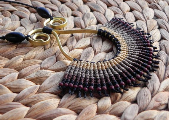 macrame necklace bohemian jewelry boho necklace tribal by QuetzArt