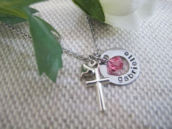Little Girl Cross necklace Confirmation Communion Hand