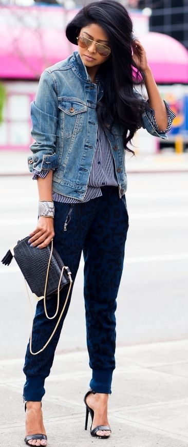 Feeling The Blues - Light denim jacket x navy stripped button up x navy cheetah harlem pants.