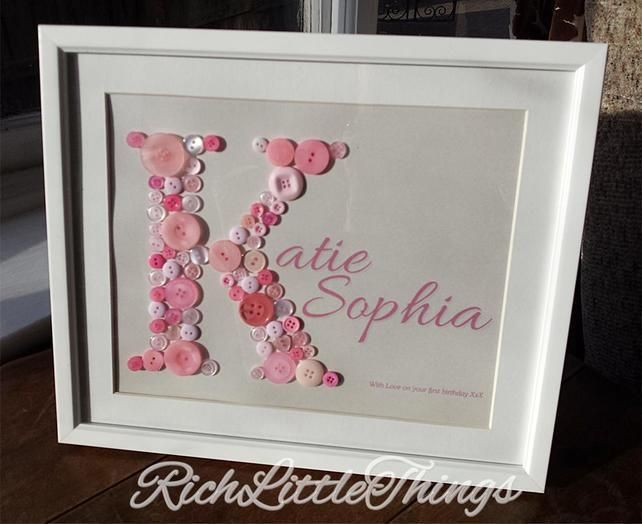'Name in a Frame' Large - New Baby - Christening - 1st Birthday Gift £20.00