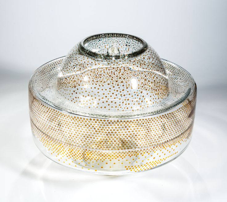 Jirina Zertova, glass disk object, 1972, D: 32,0 cm, H: 28,0 cm, Czechoslovakia