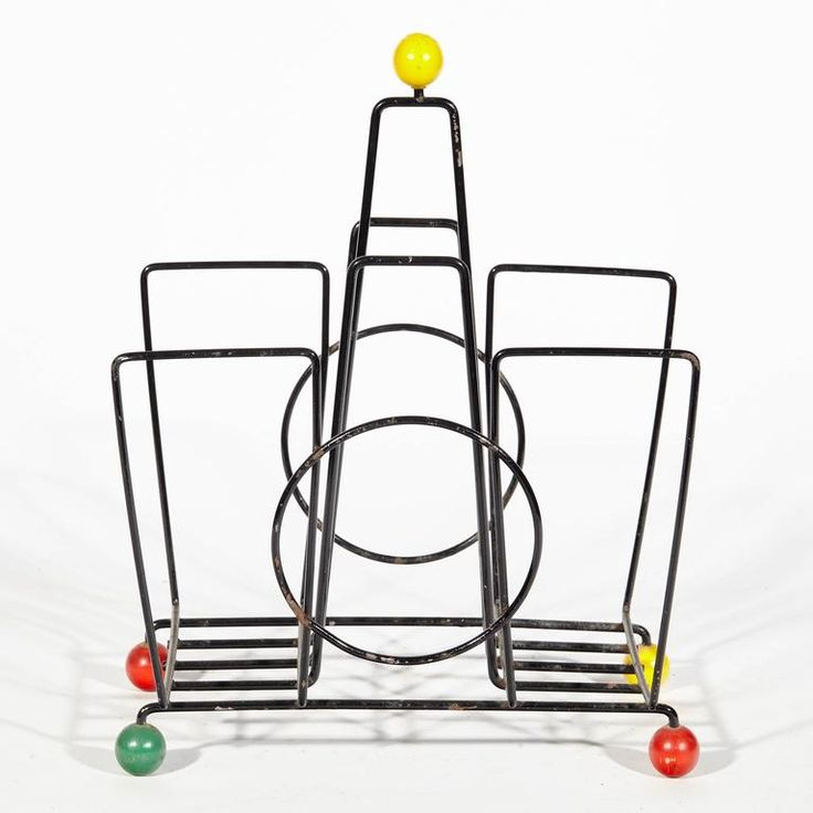 French Mid-Century Modern Magazine Rack in Metal and Wood, 1950s 3